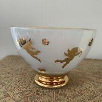 "TELEFLORA CHERUB CUPID HEARTS & ARROWS FROSTED GLASS VASE 5.5"" Gold Tone Trim"