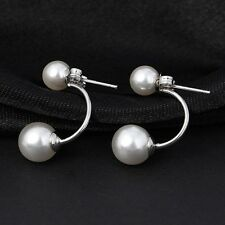 Silver Plated Earing Fashion JewelryCrystal Ball Stud Earrings Pearl Earrings