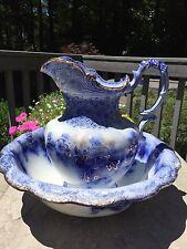 "Very Rare 1900 Flow Blue Wash Bowl & Pitcher Vanity Set, ""Belmont"" Pattern, Eng"