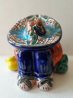 Mexican Talavera Sleeping Sombrero Man Siesta Colorful Handpainted Ceramic