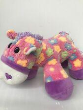 "DAN DEE COLLECTORS CHOICE Pink Plush Horse Bright Color Flowers purple Trim  15"""