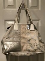 Coach Signature Stripe Patchwork Frame Carryall 13537 Retail $398