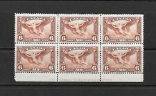 1935 King George V SG355 6 c. AIR block of 6 with printers details MH CANADA
