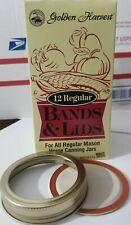 Golden Harvest Regular Mouth Canning Jar Lids & Bands | 12 Lids & 12 Bands
