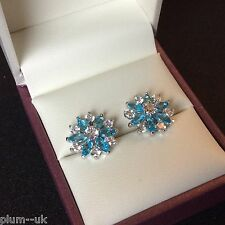 SS 14mm aquamarine snowflake silver (white gold gf) stud earrings BOXED Plum UK