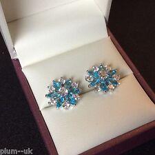 SS 14mm aquamarine snowflake silver (white gold gf) stud earrings BOXED Plum UK
