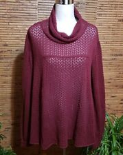 O'Neill Layering Pullover Sweater Thin Size L Pointelle Burgundy Wine