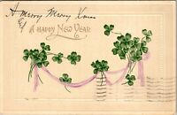 Vintage 1910 Bouquets and Ribbons of Four Leaf Clovers, Happy New Year Postcard