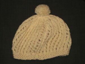 VINTAGE 60s 70s HAND MADE IN SCOTLAND BEIGE WOOL BERET HAT WOMEN'S ONE SIZE