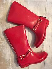 Ralph Lauren Girl Wellington Boots Size 1 Uk Red Original