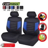Universal Car Seat Covers 2 Front Blue Black Breathable For Hyundai Honda Toyota