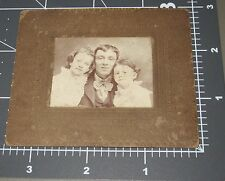 Dad Young Daughters Happy Father Sweet Family Vintage Studio Cabinet Card PHOTO