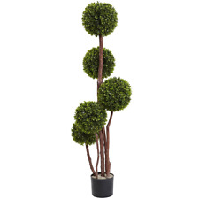 Boxwood Topiary Five Ball Canopies Indoor Outdoor Faux Plants Accent Natural