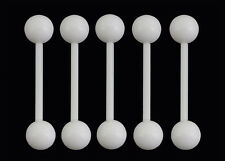 5 White Flexi Tongue Bars Flexible 14g 16mm Barbell with 6mm Balls #W5
