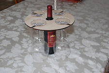 Hand Crafted Unique Wood Wine Bottle & Glass Holder Rack Gift Craft for Decopage