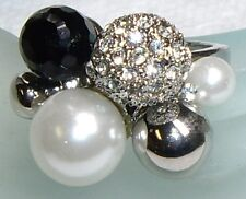 Large Faux Pearl, Rhinestone Glass Cluster Ring 7.5
