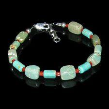 Sterling Silver Green Kingman Turquoise Coral Bracelet