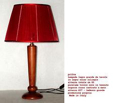 Lampe de table en bois tournée avec cerise cm60 avec abat-jour tressé rouge