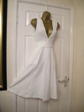 8 PETITE ASOS IVORY MIDI DRESS PLUNGE SKATER STRETCH PARTY WEDDING SUMMER HOLS