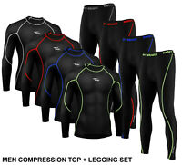 Men's Compression Winter Thermal Base Layer Tight Shirt Pant Under Full Suit Set