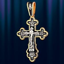 Russische Kreuz  Silber 925 Gelbgold vergoldet 999° Anhänger православный  Крест