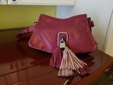 abro leather shoulder bag / burgundy / tassel lock & key accent / cute
