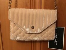 Nine West NEW Pink Snap Flap Quilted Velvet Crossbody Handbag NWT 19.99