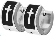 Akzent Bicolor Edelstahl Klapp Creolen in Farbe Silber Schwarz Ohrringe 2 Stück