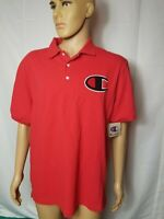 Champion Brand Polo Shirt Solid Red Mens Big Logo Spellout S/S NWT New Large
