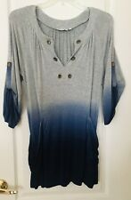 Mandarin Blue Gray Navy Stretch Rayon Top Blouse Size Small Roll Tab Sleeve