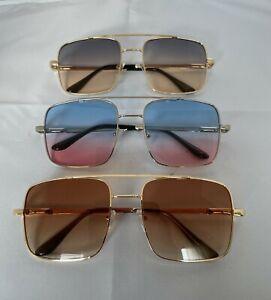 Oversized  Sunglasses Big Square Blue/Brown/Purple Lenses  Metal Frames IN UK