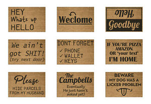 Personalised Funny Rude Welcome Coir Door Mat / Custom Bespoke Floor Rug Large