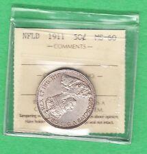 1911 Newfoundland 50 Cents - MS-60 ICCS
