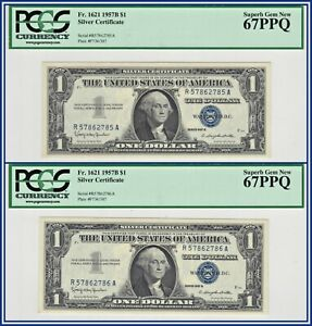 Consecutive 1957B $1 Silver Certificate Dollars (2) PCGS 67 PPQ Superb Gem Unc