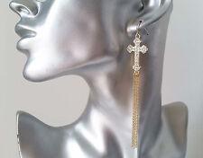 Gorgeous long gold tone & diamante cross & chain tassel drop earrings, * NEW *