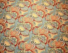 Paisley Floral Upholstery Fabric Blue Red Field Day Carnival Swavelle