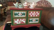 Vintage Wooden 4-Drawer Spice or Tea Box Storage Container ceramic designs