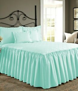 "3 Piece 800tc Egyptian Cotton Quilted Ruffle Bed Spread 25"" drop all size &color"