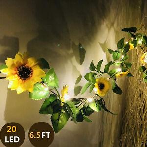 20 LED Sunflower String Lights, 6.5ft Silk Sunflower Vines  Party Wedding Decor