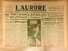 JOURNAL QUOTIDIEN / L'AURORE N°299 / 2/08/1945 / LAVAL A FRESNES