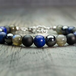 Bracelet homme/femme perles 8mm Pierres naturelles gemmes métal inoxydable/inox