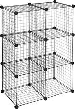 6 Cube Grid Wire Storage Shelves, Black