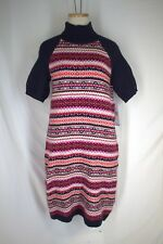 TOMMY HILFIGER Fair Isle Turtleneck Sweater Dress MEDIUM Navy Red Cotton Angora
