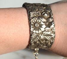 Antique Victorian Art Nouveau Floral Sterling Silver Cuff Bracelet 925 flowers