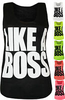 New Womens Like A Boss Slogan Text Print Ladies Sleeveless Stretch Vest Top 8-14