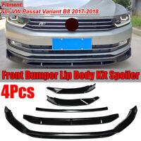 For Volkswagen VW Passat Variant B8 Gloss Black 4PCS Front Bumper Lip