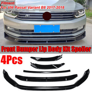 For Volkswagen VW Passat Variant B8 Gloss Black 4PCS Front Bumper Lip