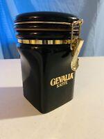 """Gevalia Kaffe Coffee Canister Jar Dark Green & Gold Ceramic 7"""" Tall"""