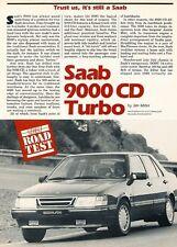 1989 SAAB 9000CD Turbo Original Car Review Print Article J549