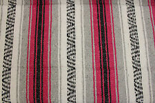 Genuine Mexican falsa western blanket in a pink & grey theme throw mat yoga rug